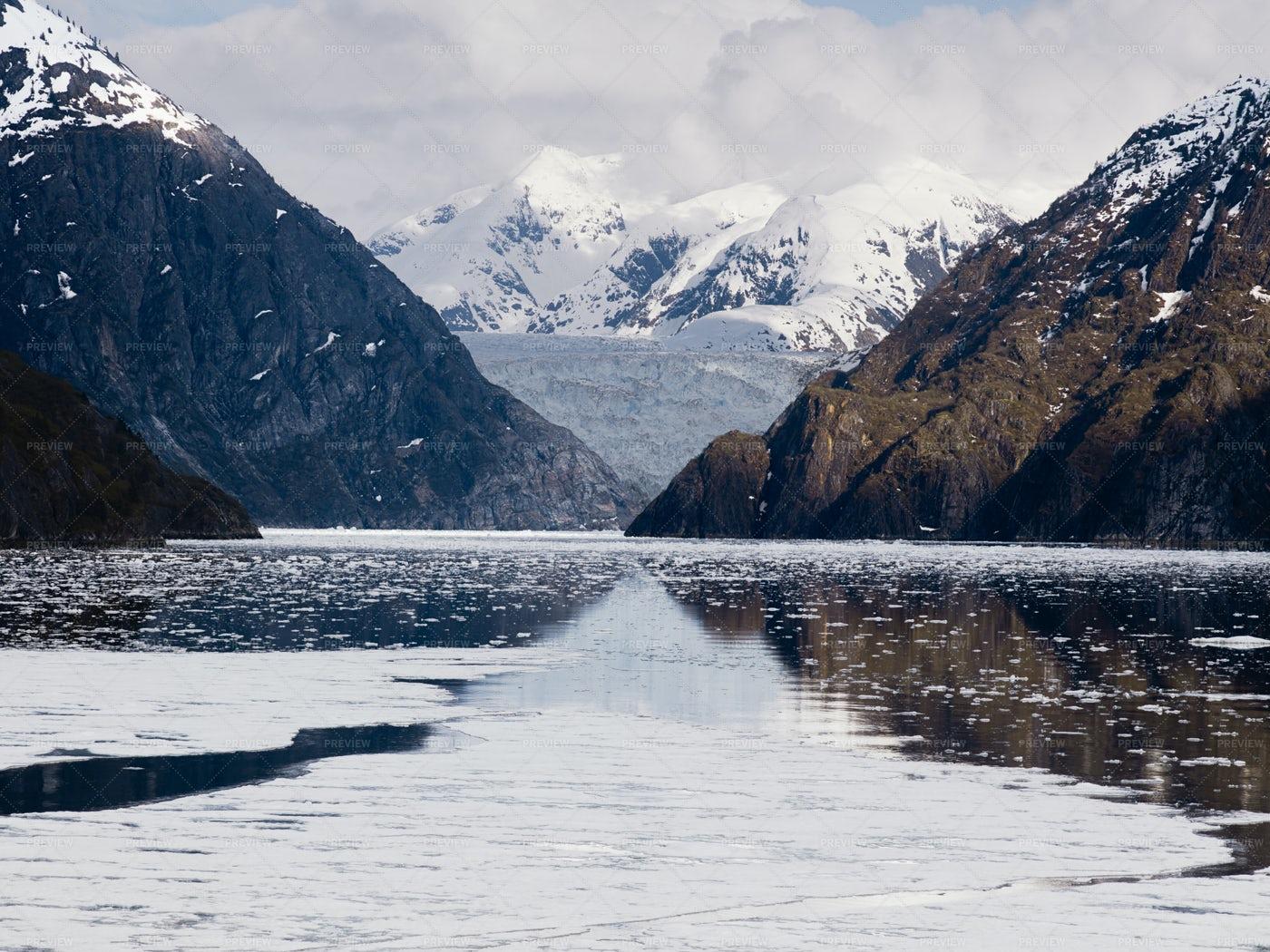 Tracy Arm Fjord And Sawyer Glacier: Stock Photos