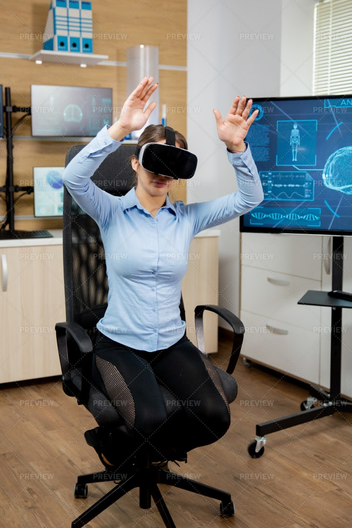 Patient Exploring Virtual Reality: Stock Photos