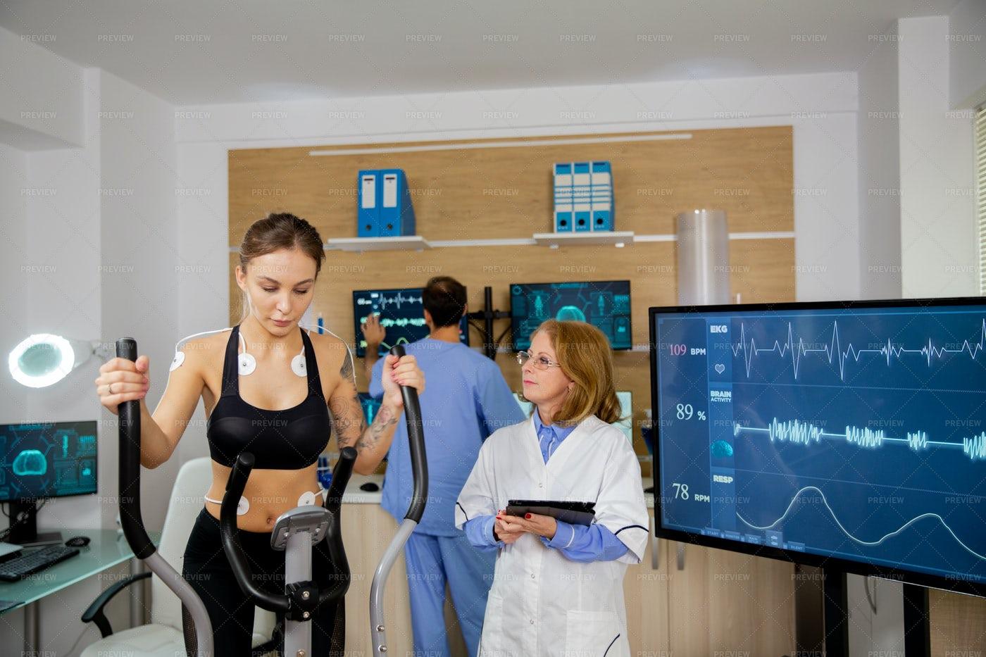 Female Athlete Doing Physical Effort On: Stock Photos