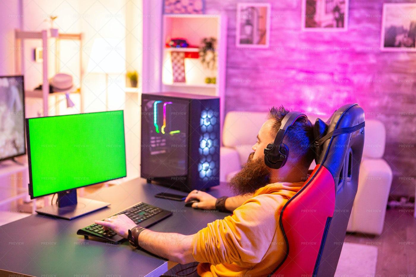 Green Screen Gamer: Stock Photos