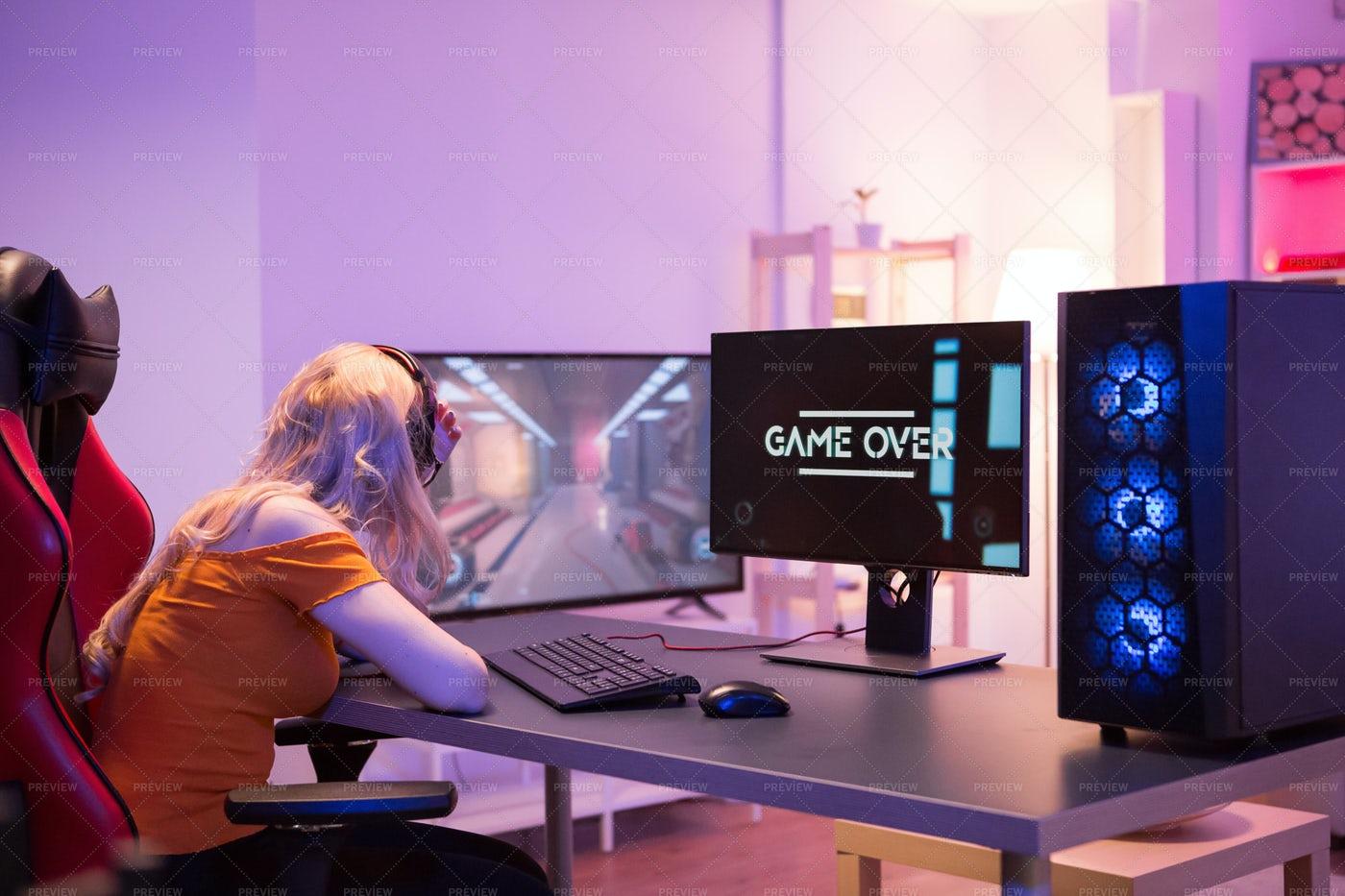 Losing Gamer Girl: Stock Photos