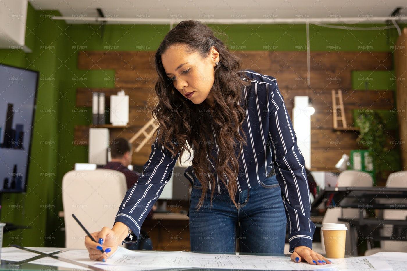 Woman Architect Working: Stock Photos