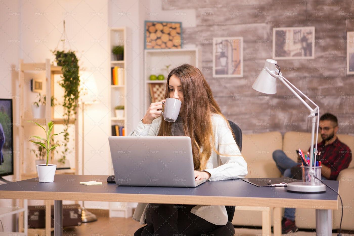 Girl Taking A Sip Of Coffee: Stock Photos