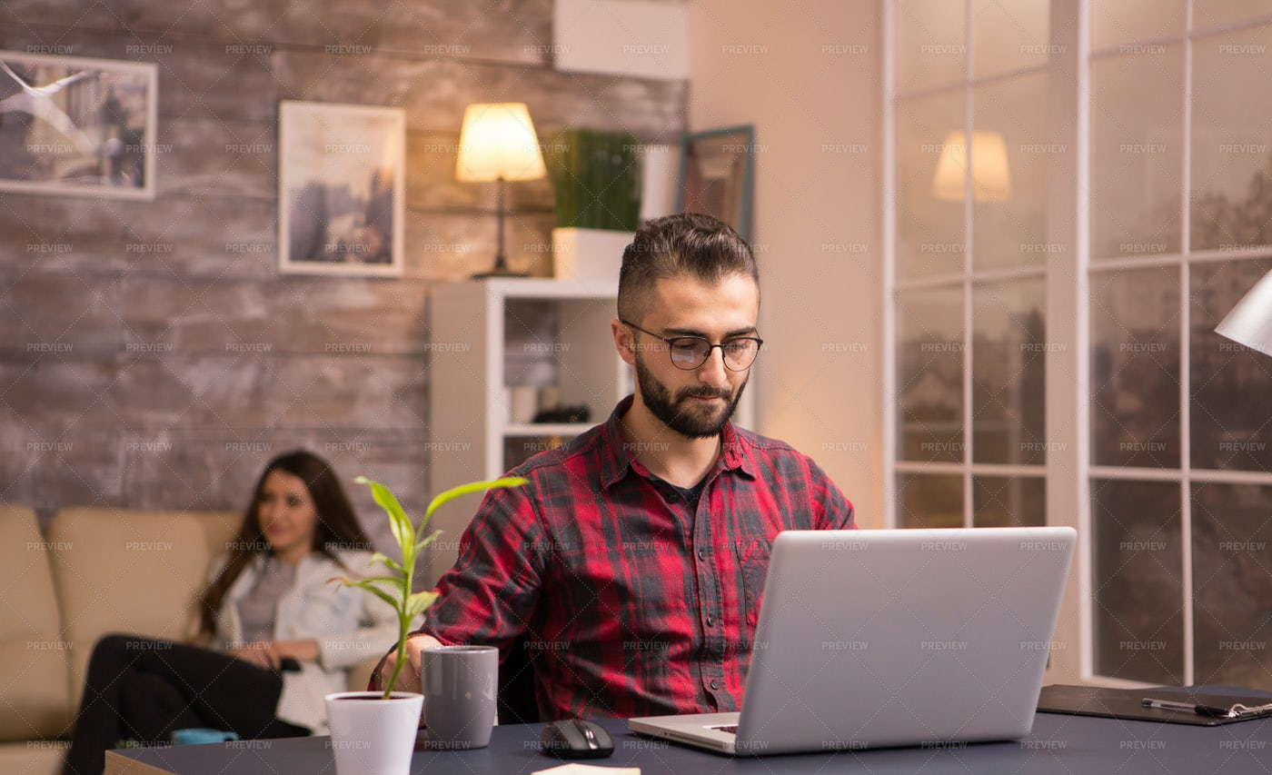 Freelancer Working From Home: Stock Photos