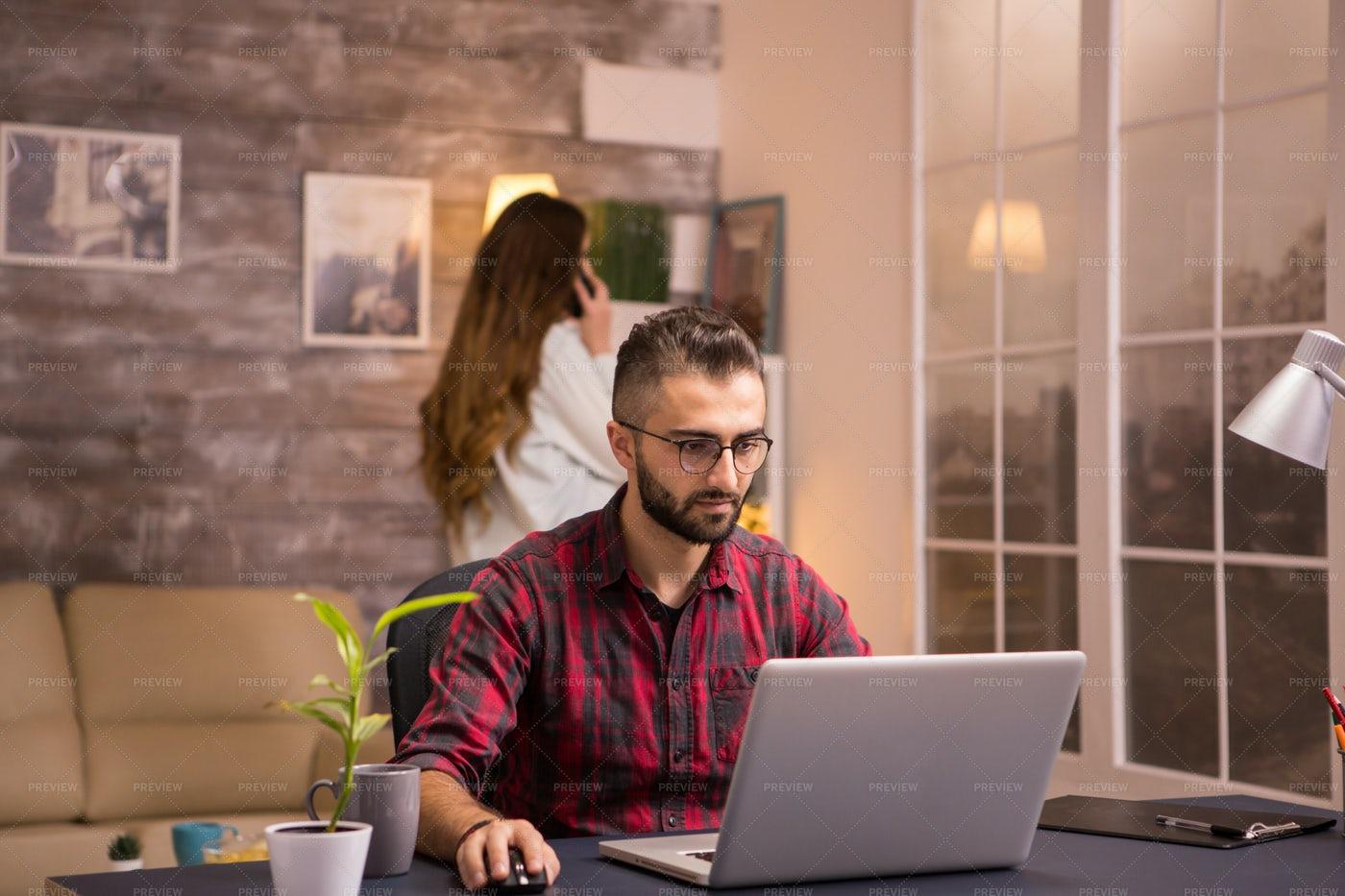 Man Sitting At Home Computer: Stock Photos