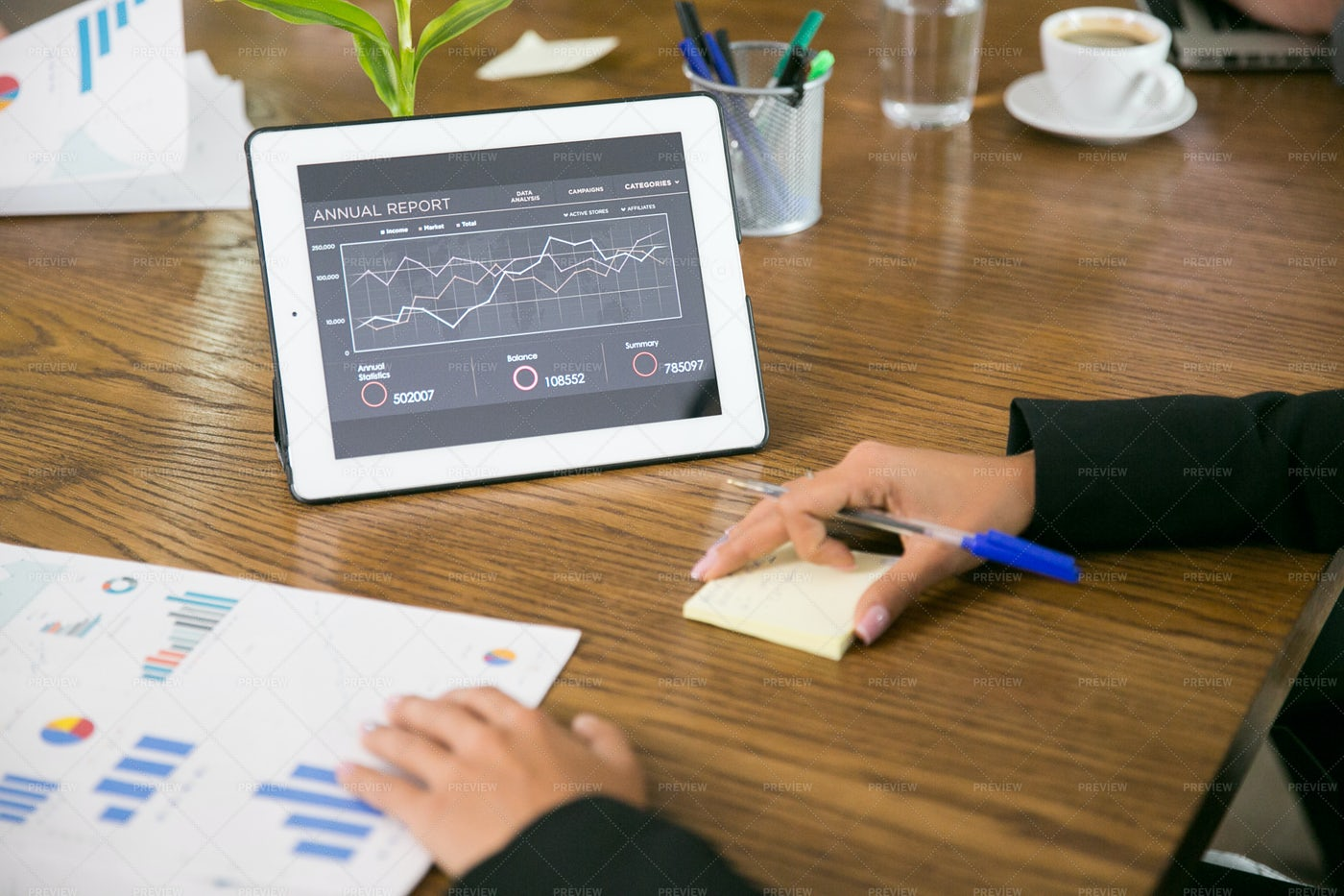 Tablet With Statistics: Stock Photos