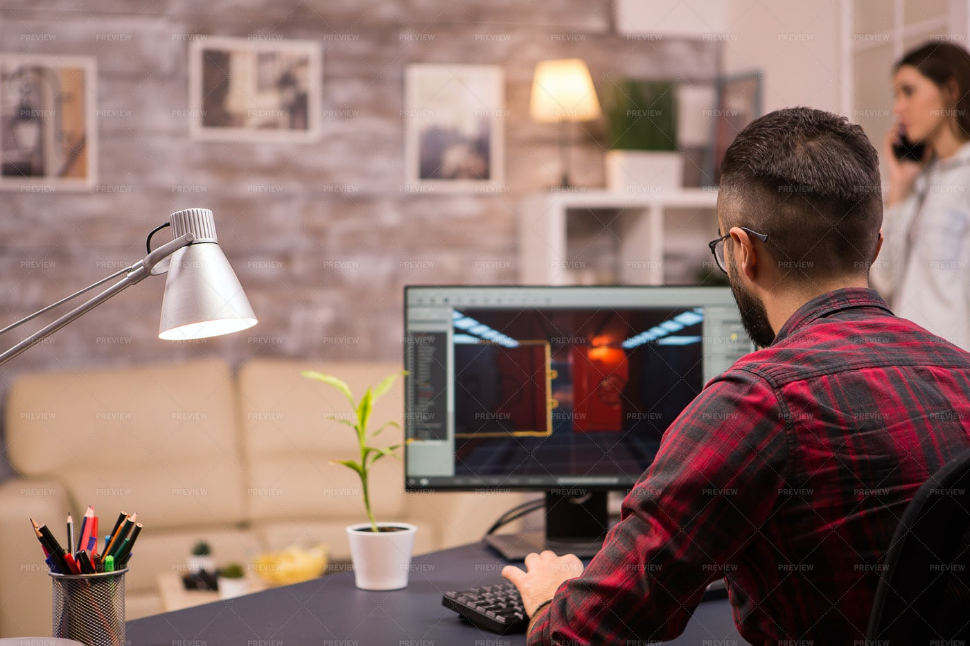 Playing PC Game At Home: Stock Photos