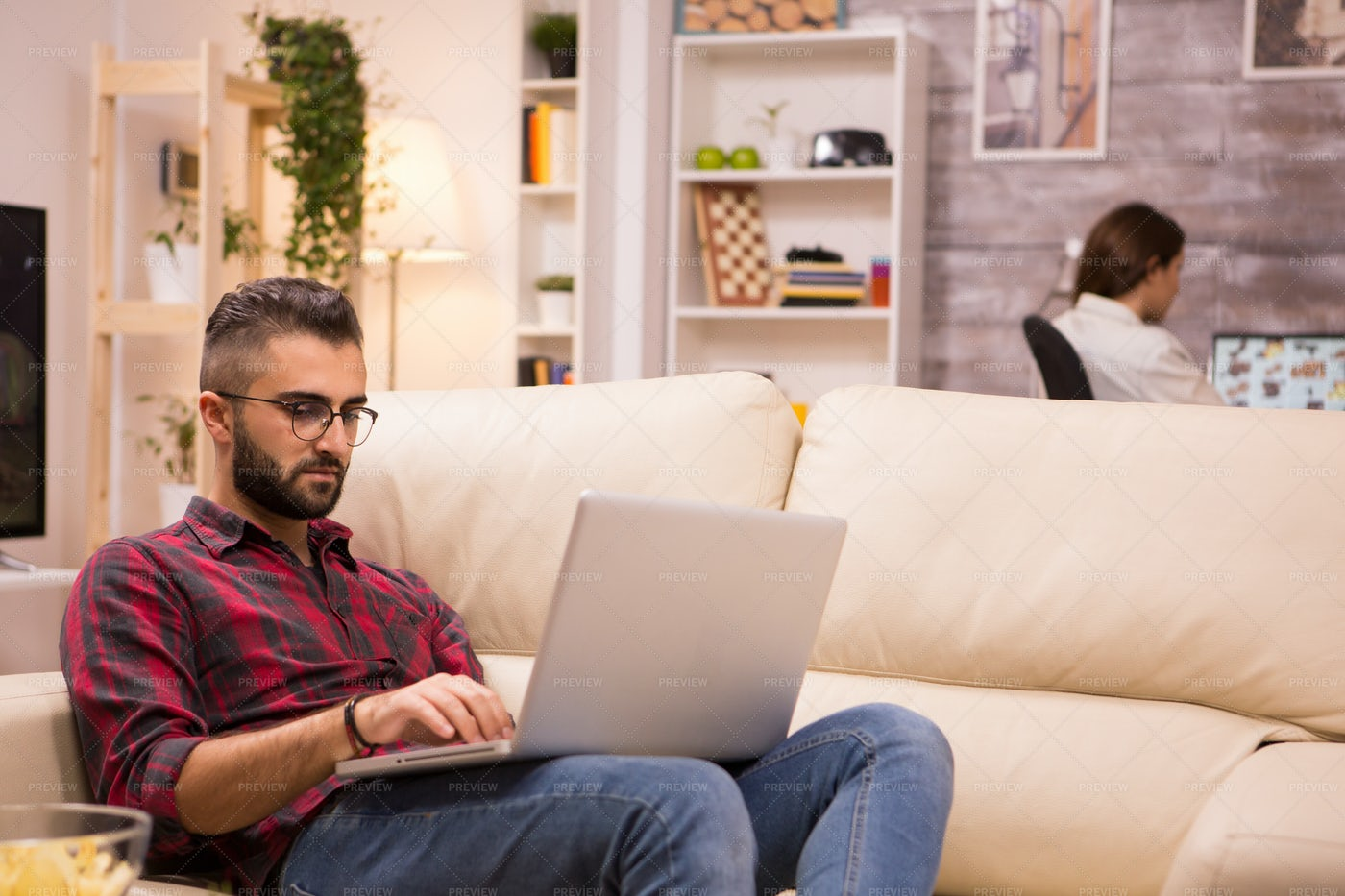 Couple On Separate Computers: Stock Photos