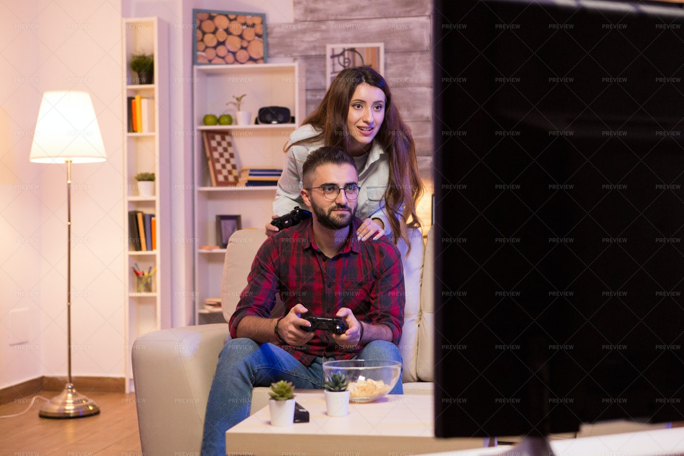 Couple Playing Video Games: Stock Photos