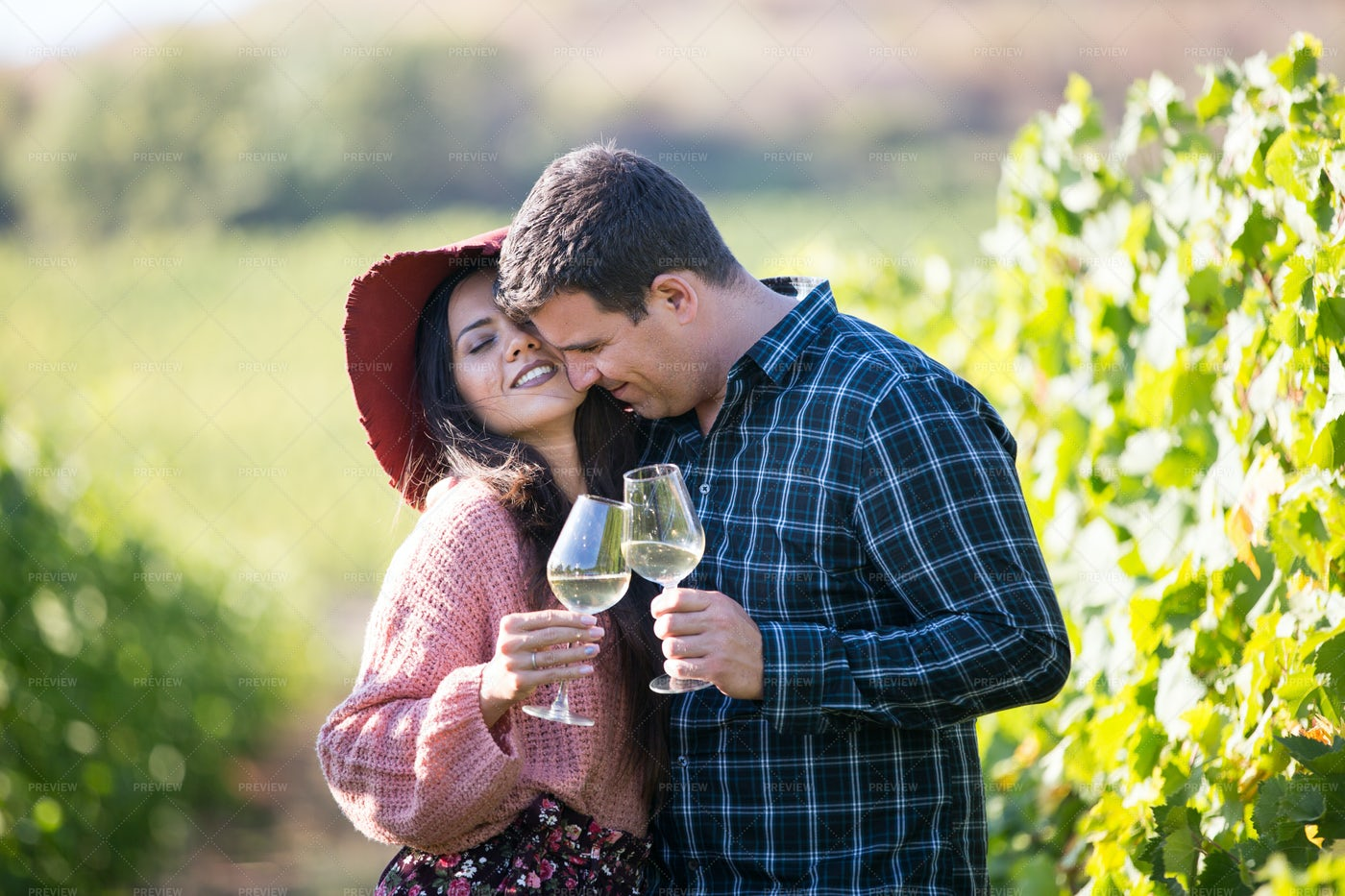Hugging And Toasting: Stock Photos
