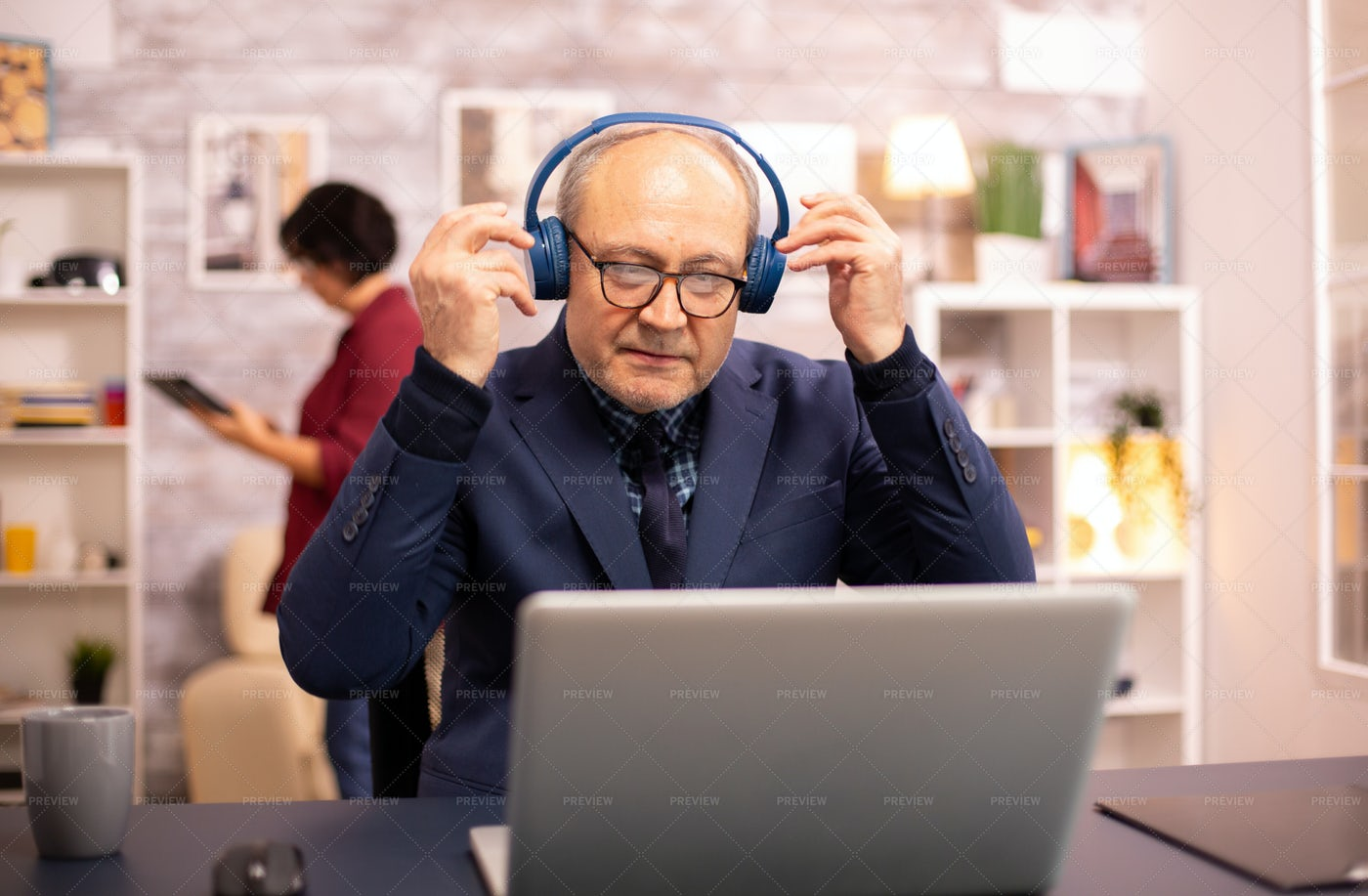Elderly Man With Headphones: Stock Photos