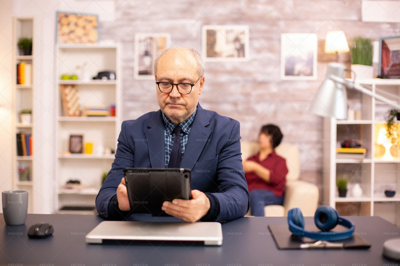 Aged Man Using Tablet: Stock Photos