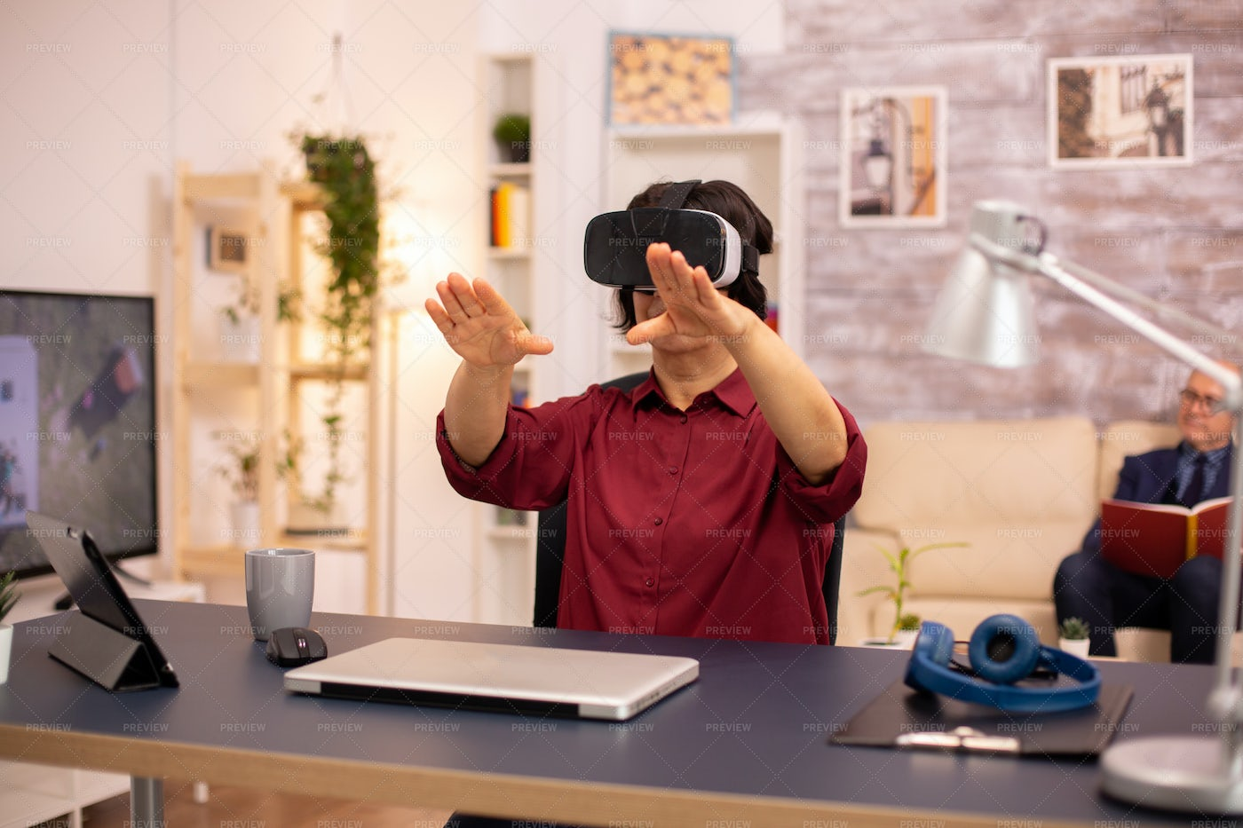 Interacting With VR: Stock Photos