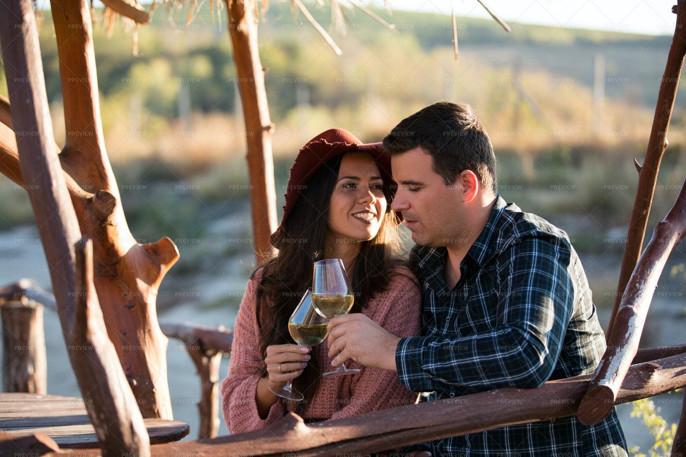 Couple Date At Vineyard: Stock Photos