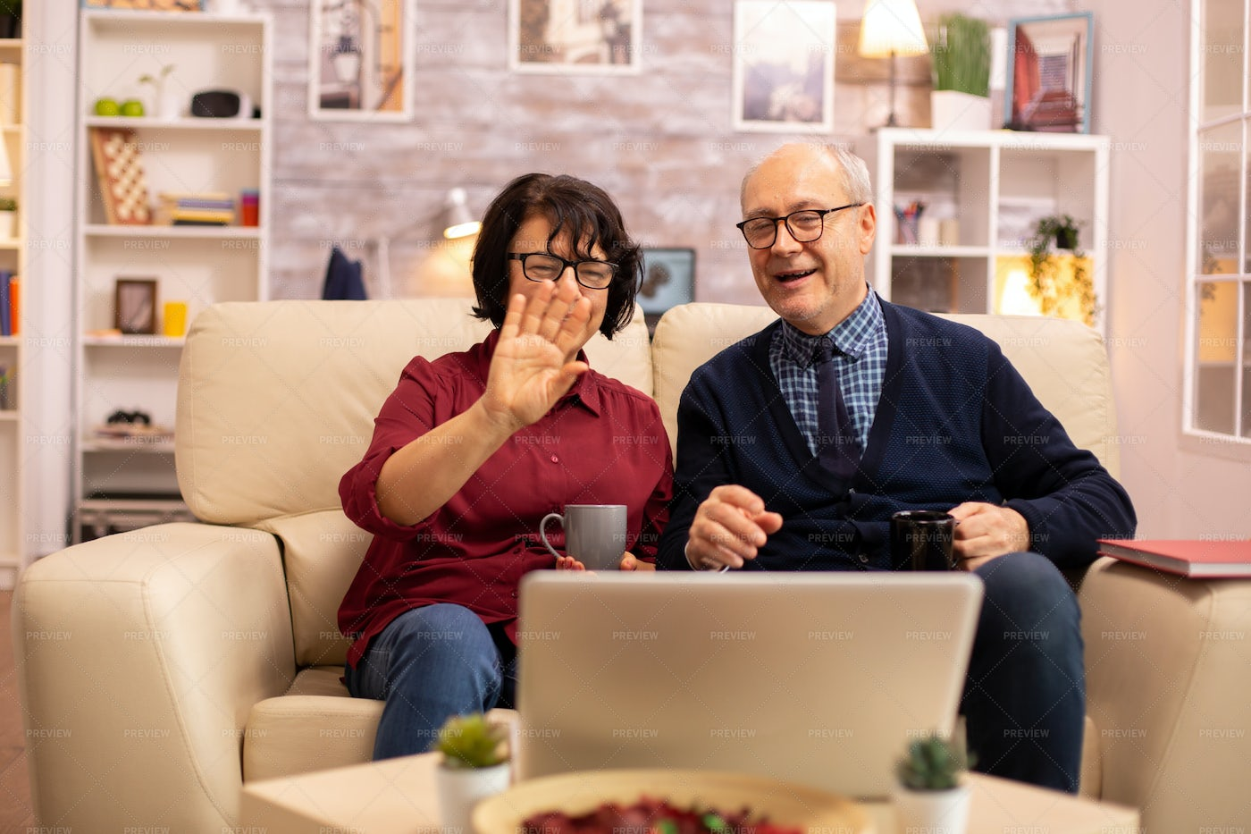 Grandparents On Video Call: Stock Photos