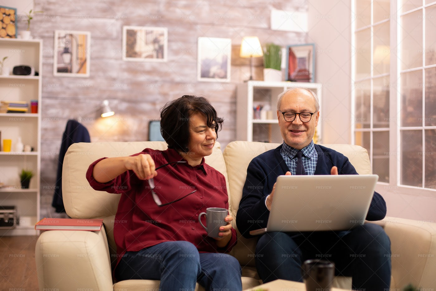 Getting Glasses To See Screen: Stock Photos