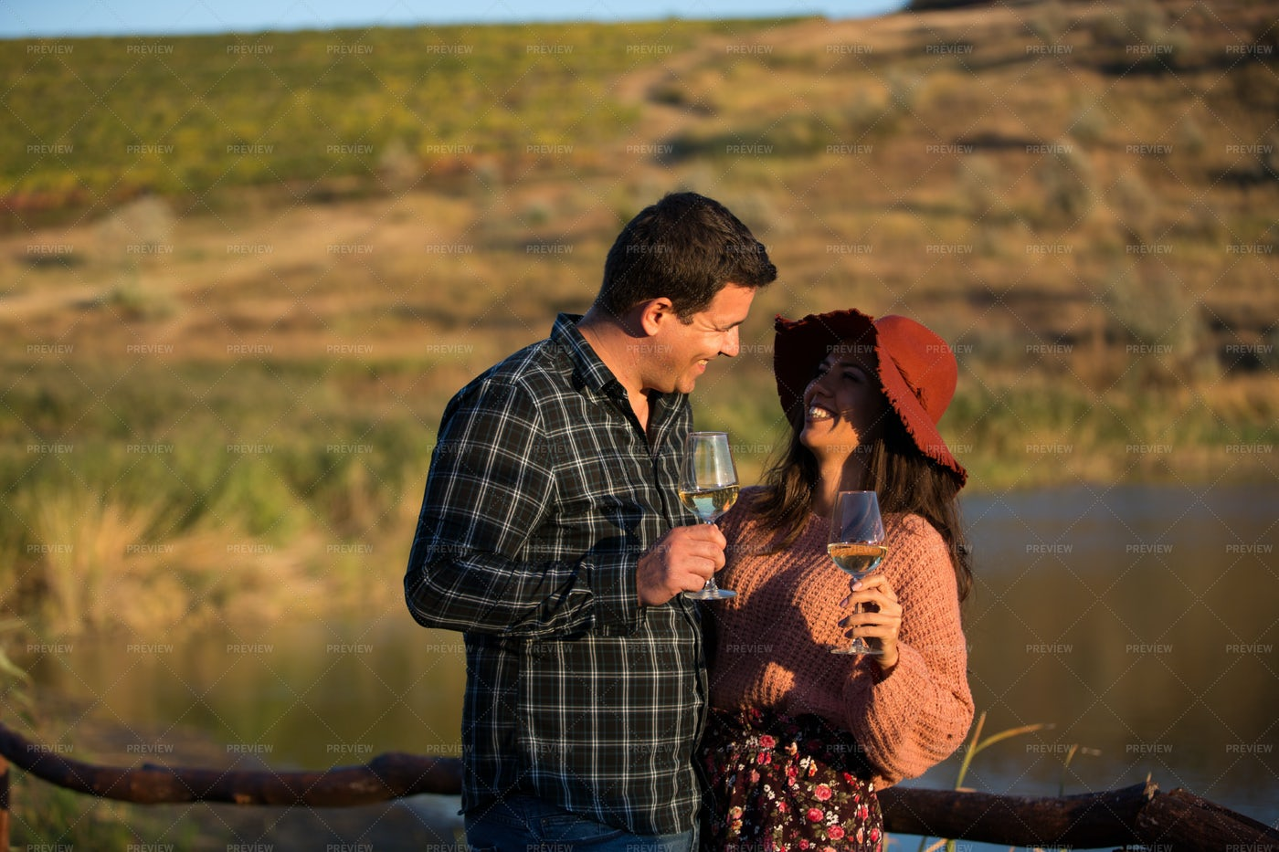 Couple  Drinking At Wine Vineyard: Stock Photos