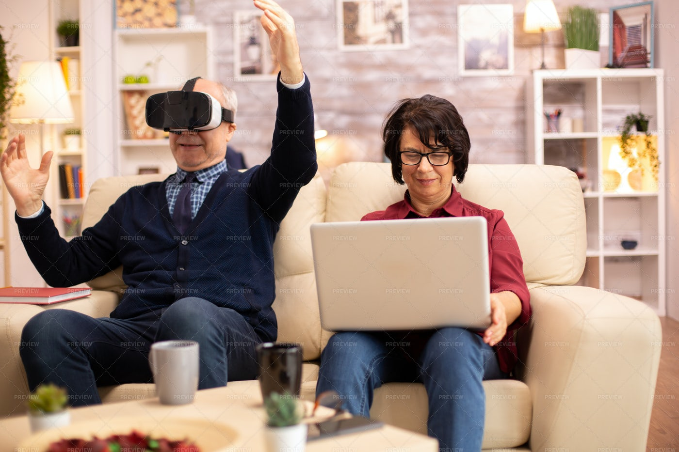 Old Retired Man Using VR: Stock Photos