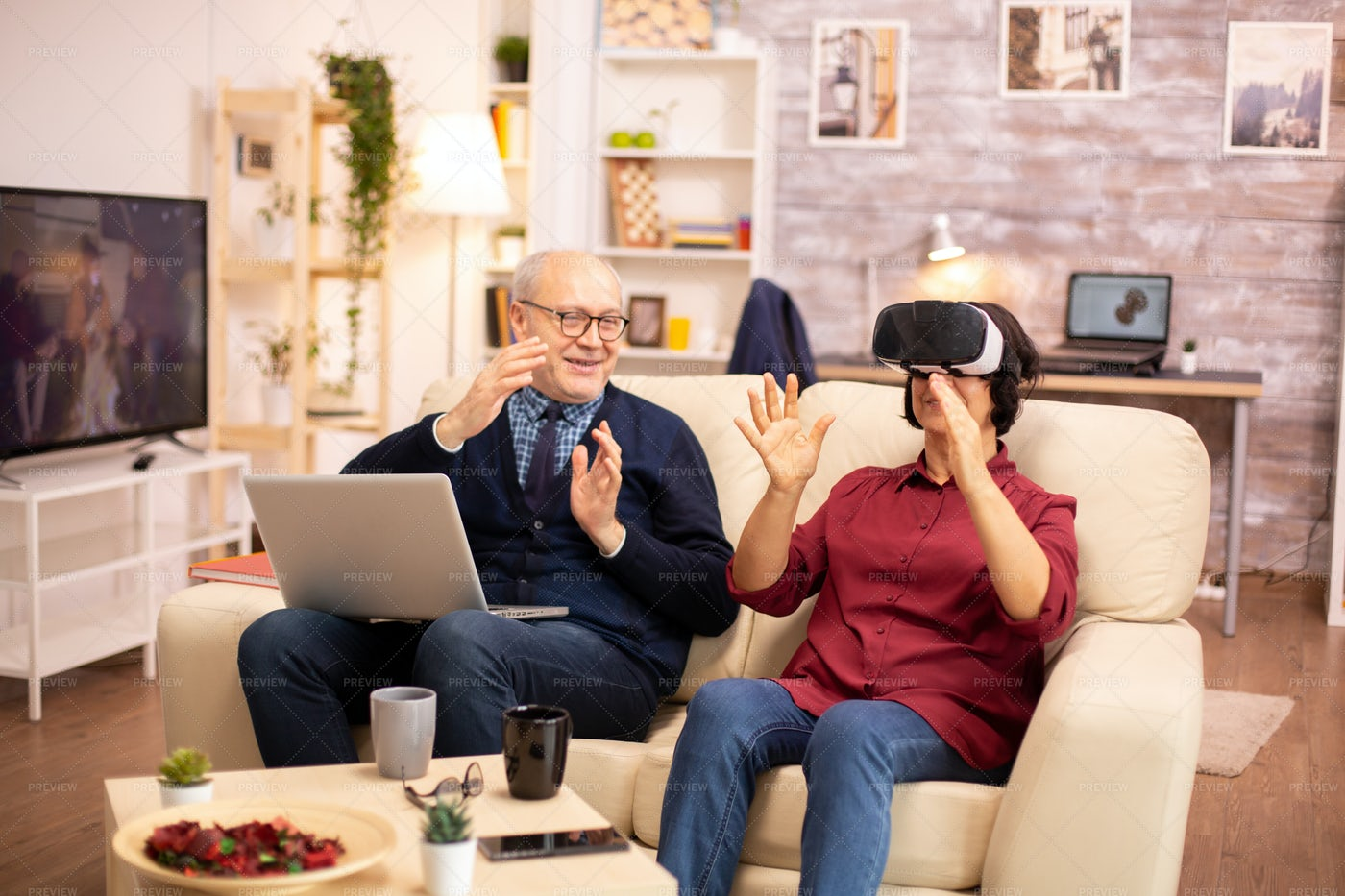 Woman Experiencing VR At Home: Stock Photos