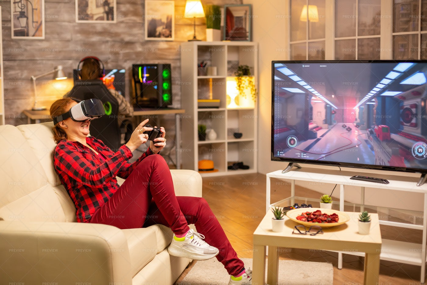Woman Gamer Playing With Vr Headsets: Stock Photos