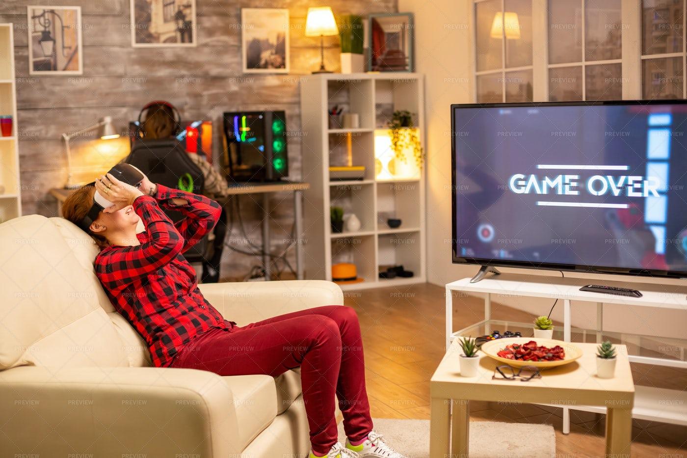 Woman Losing At Video Games: Stock Photos