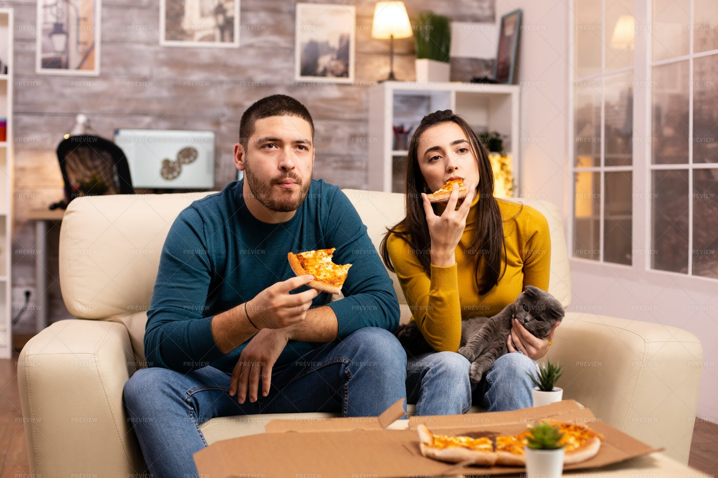 Pizza And A Movie: Stock Photos