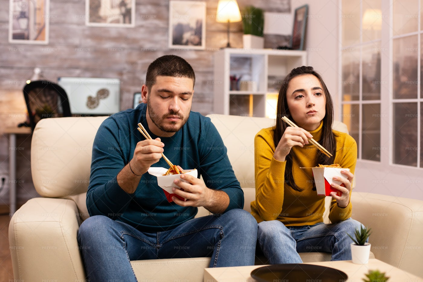 Movie And Chinese Food: Stock Photos