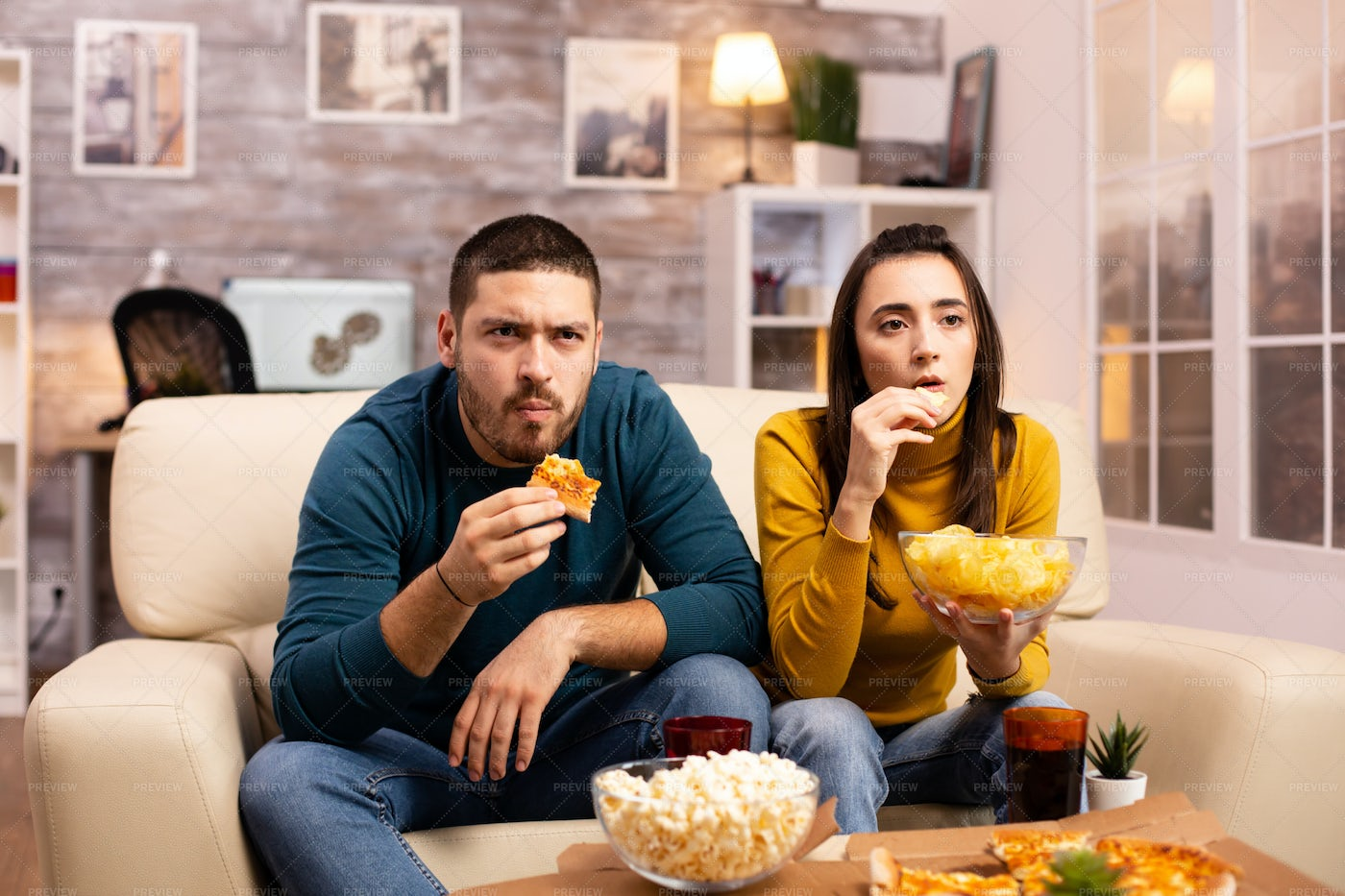 Eating Pizza And Watching Tv: Stock Photos