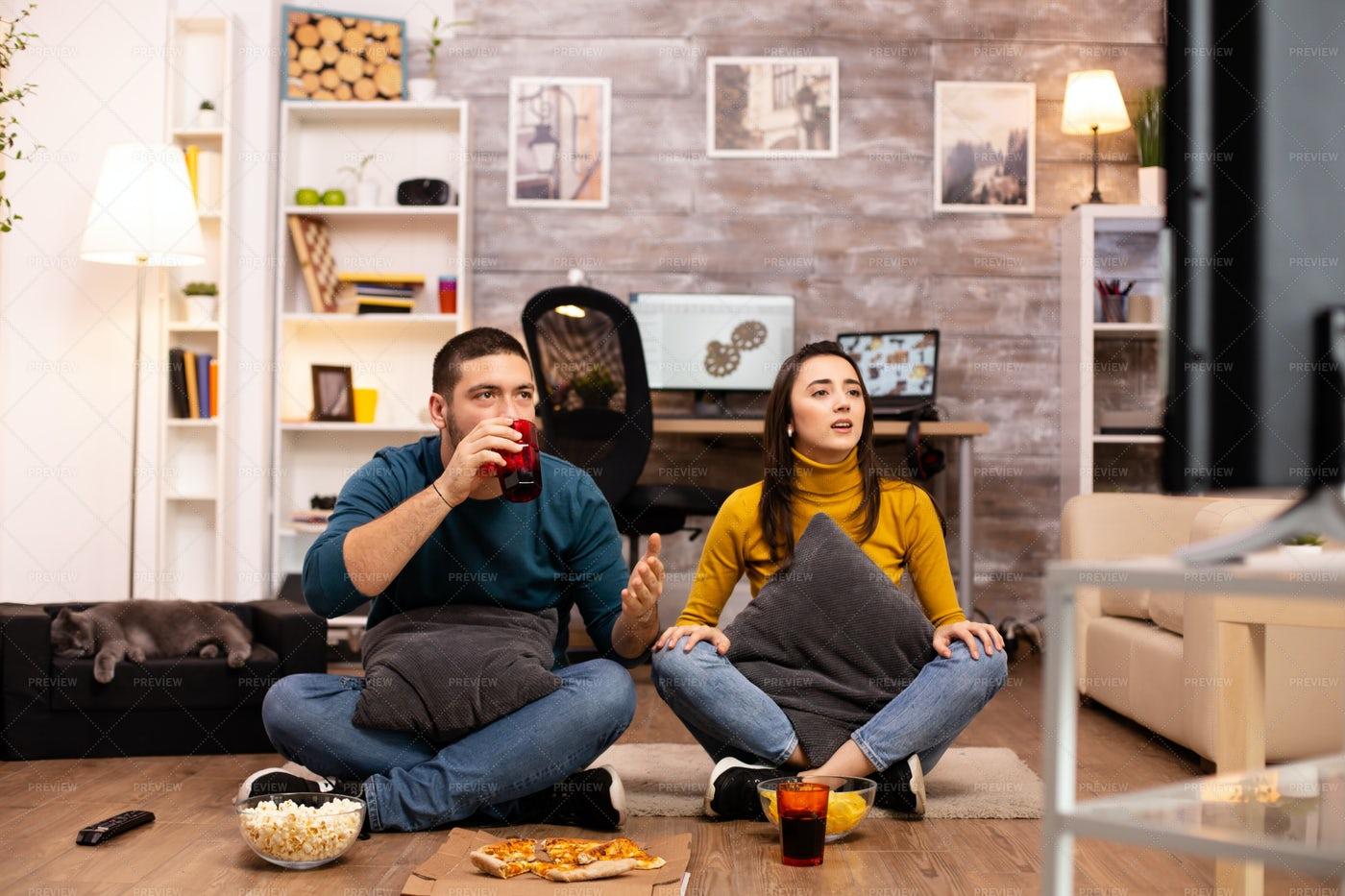 Couple Sitting On The Floor: Stock Photos