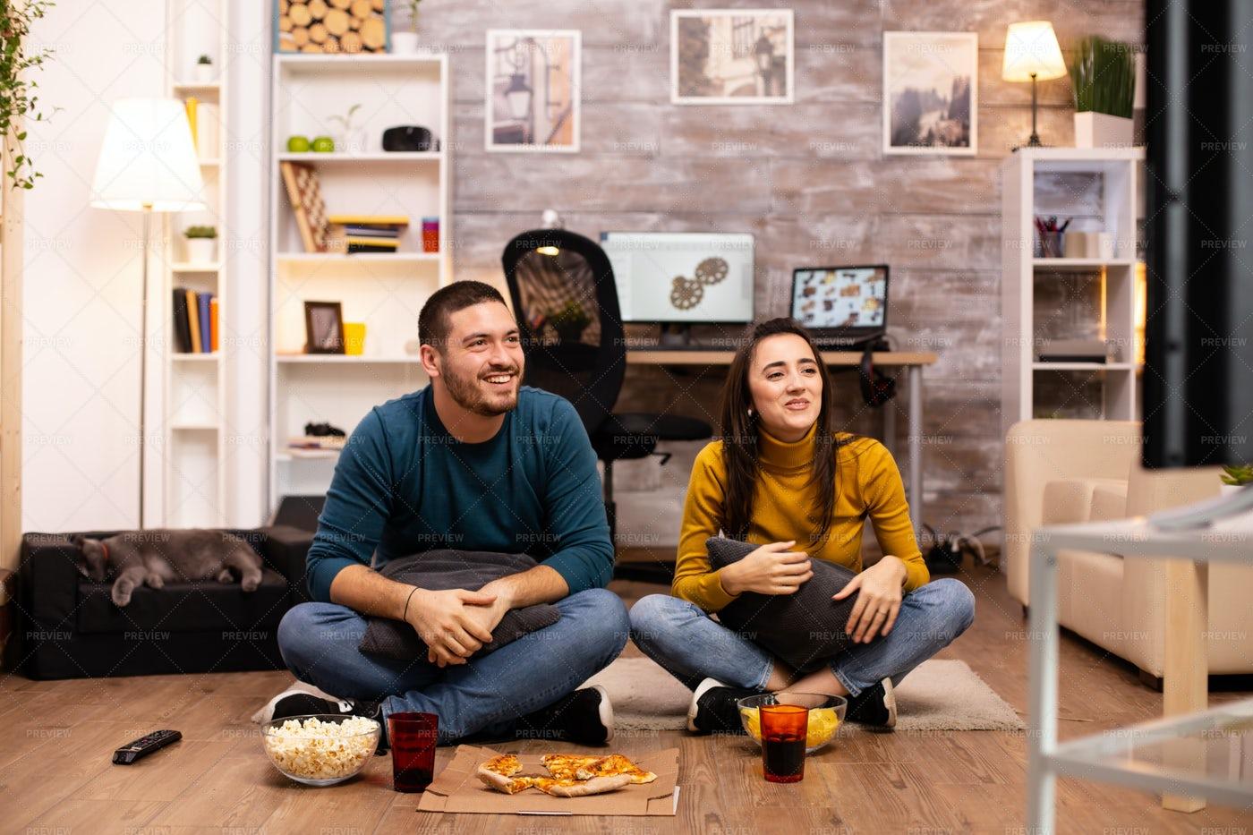 Couple Watching TV: Stock Photos