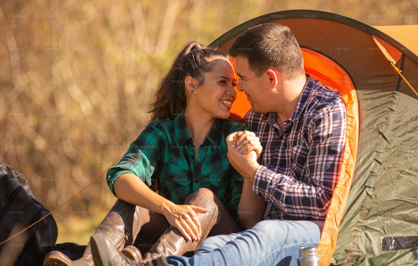 A Couple Embrace: Stock Photos