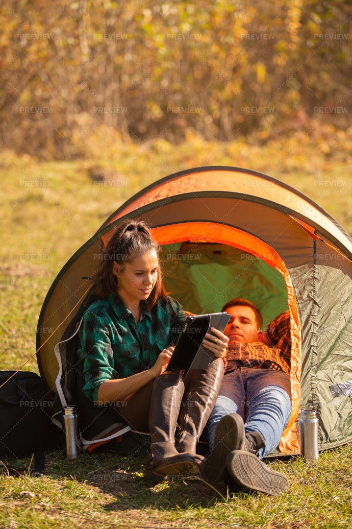 Unable To Unplug During Camping: Stock Photos