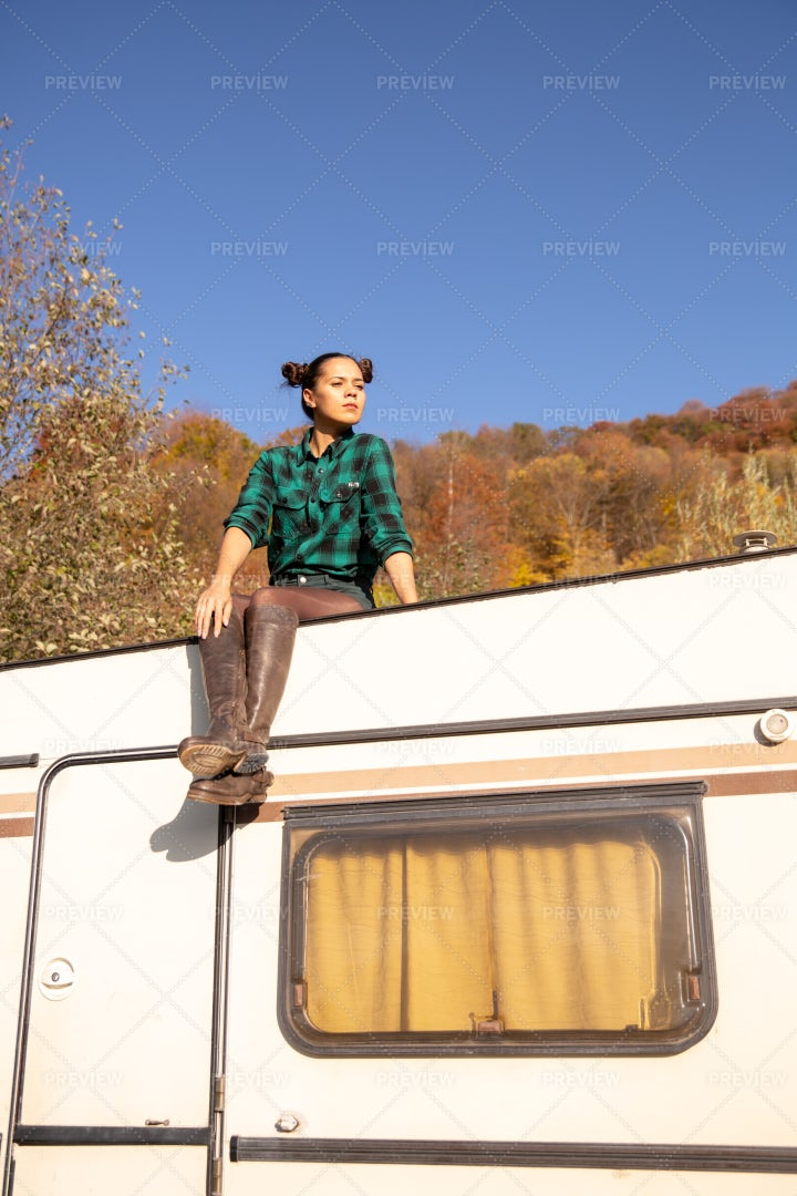Relaxing On The Roof Of A Camper: Stock Photos