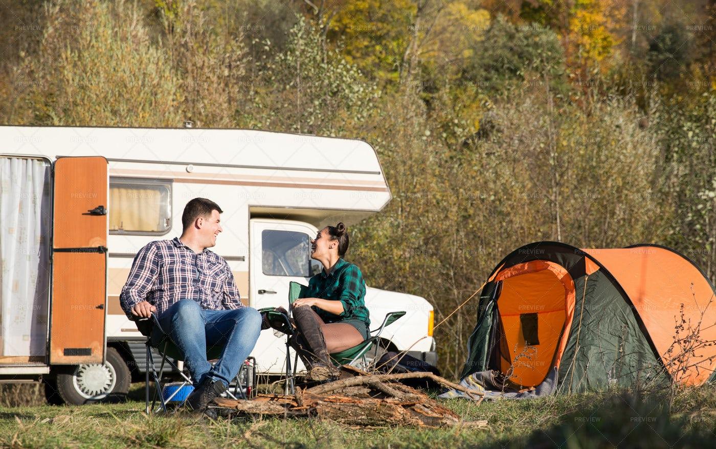 Camping In Autumn: Stock Photos