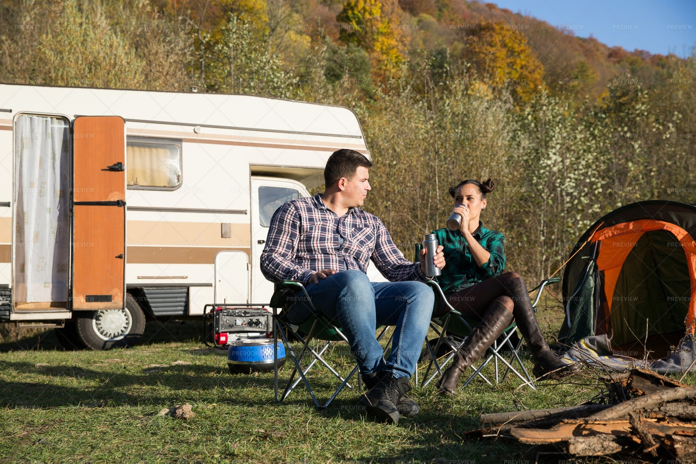 Drinking Coffee While Camping: Stock Photos