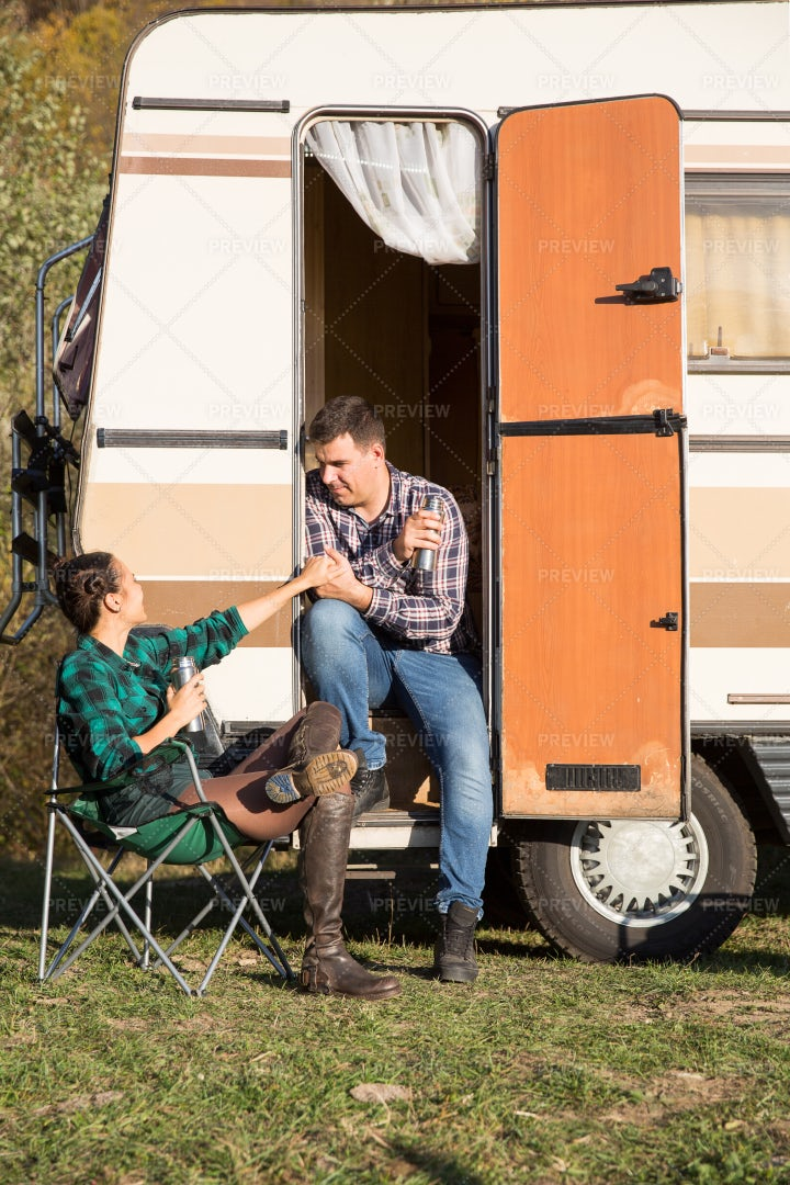 Loving Couple On Camping Trip: Stock Photos