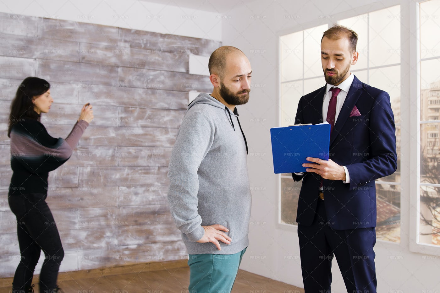 Apartment Veiwing With Agent: Stock Photos