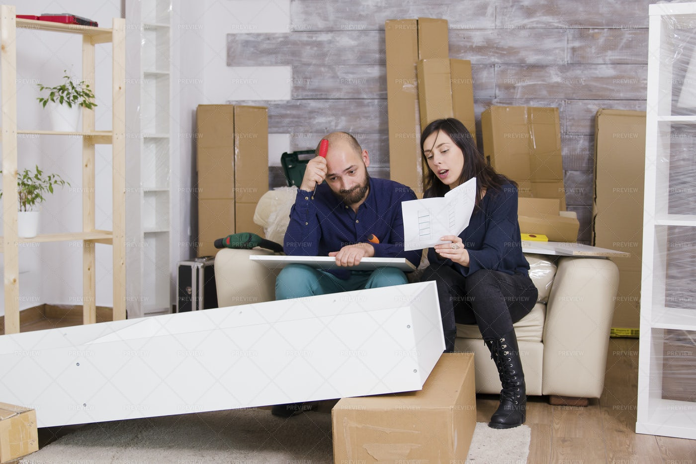 Messed Up Furniture Assembly: Stock Photos