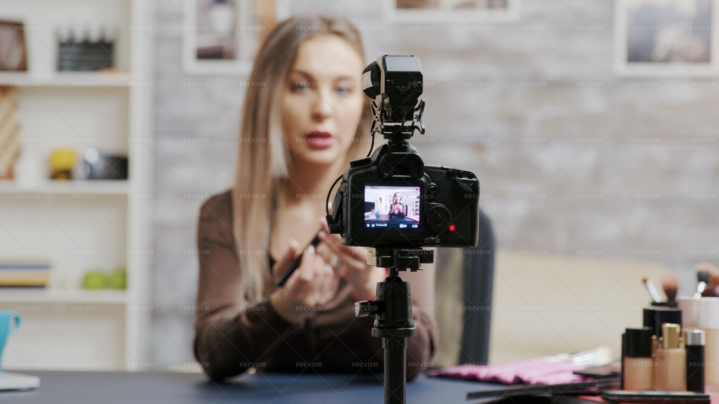 Makeup Vlogger Recording A Video: Stock Photos