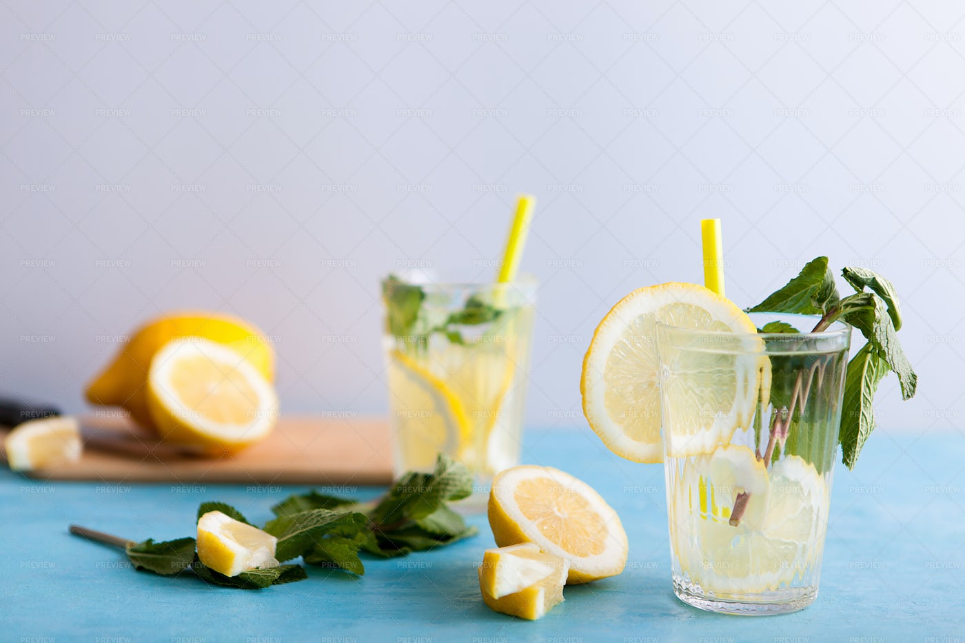Two Glasses With Lemonade: Stock Photos