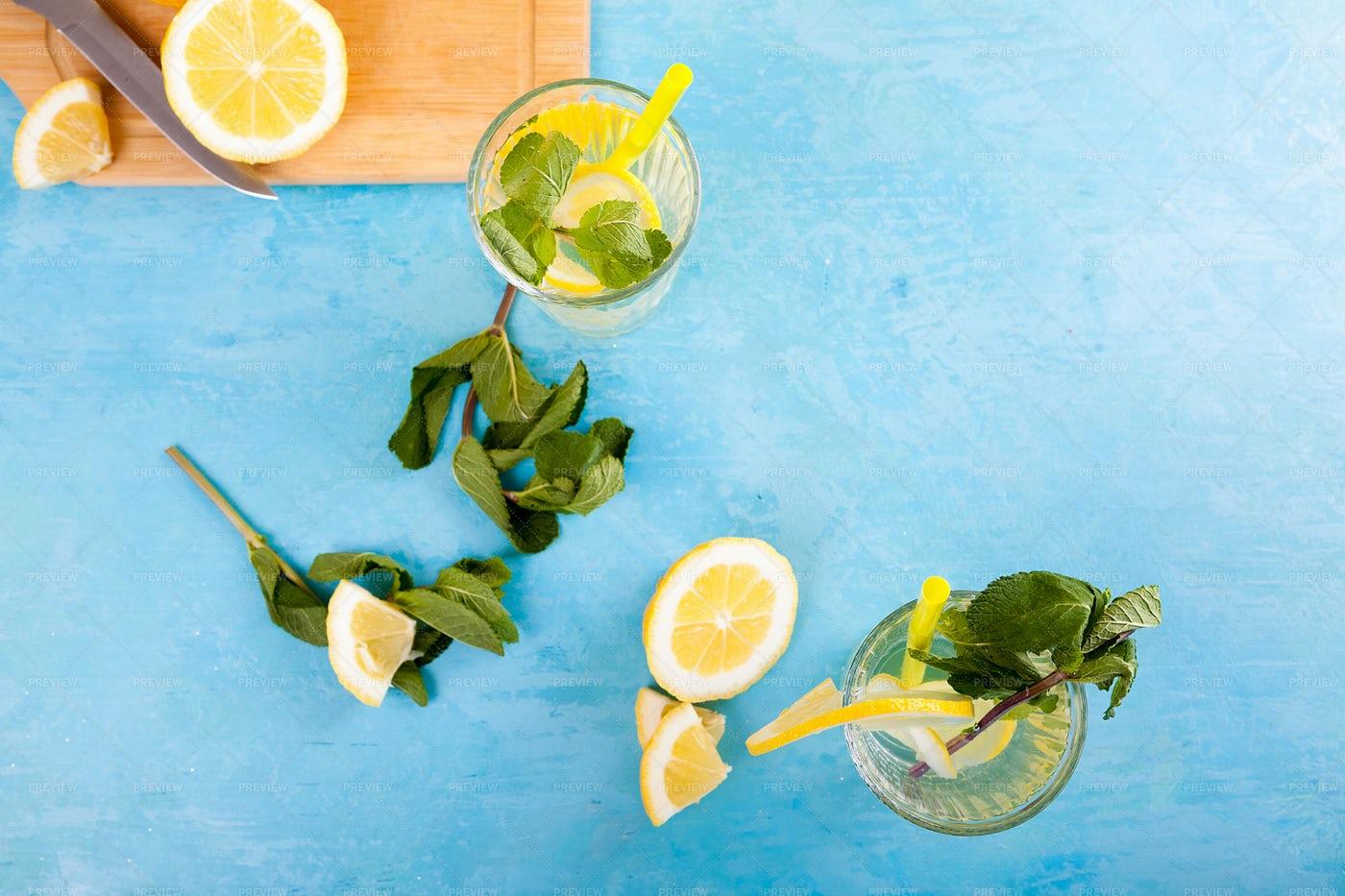 Glasses Of Lemon Mint Water: Stock Photos