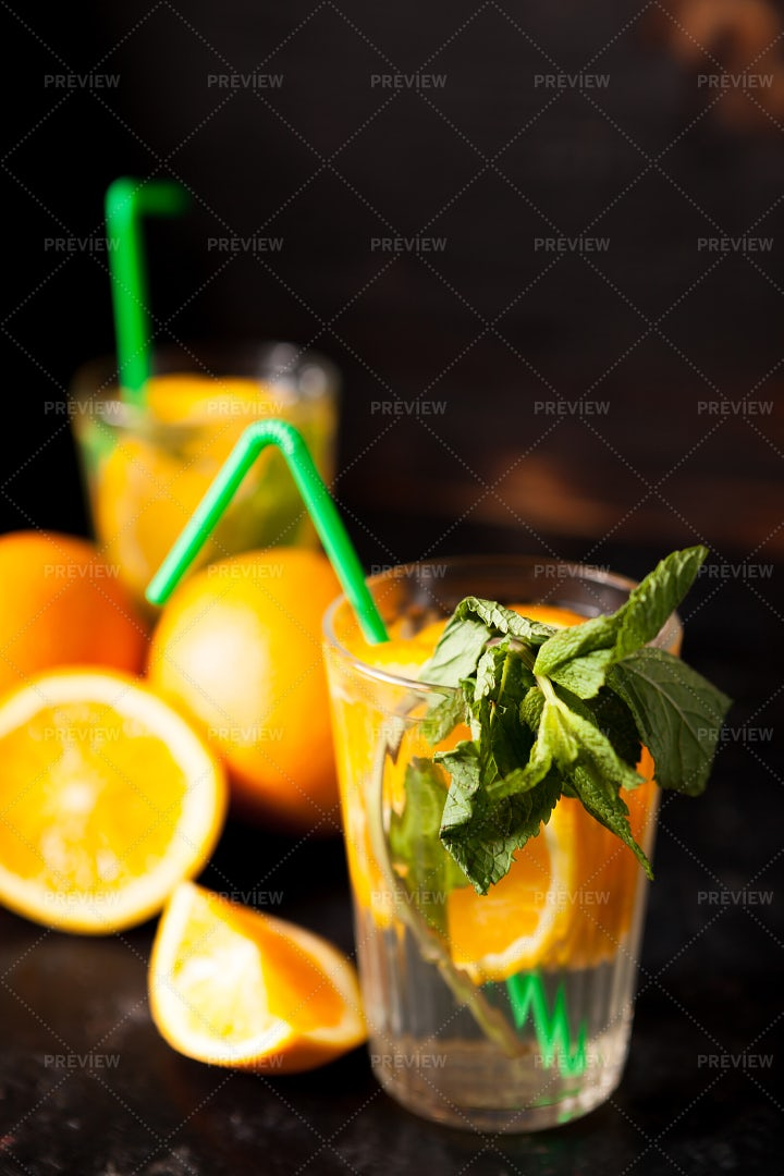 Oranges And Mint Water: Stock Photos