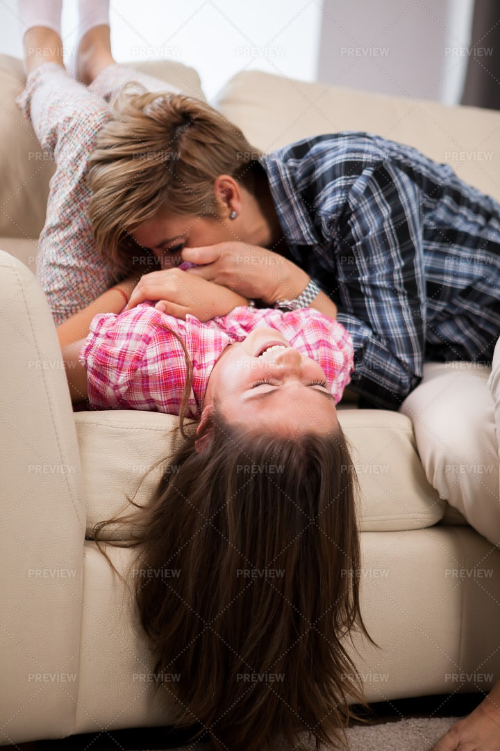 Mother Playing With Little Daughter: Stock Photos