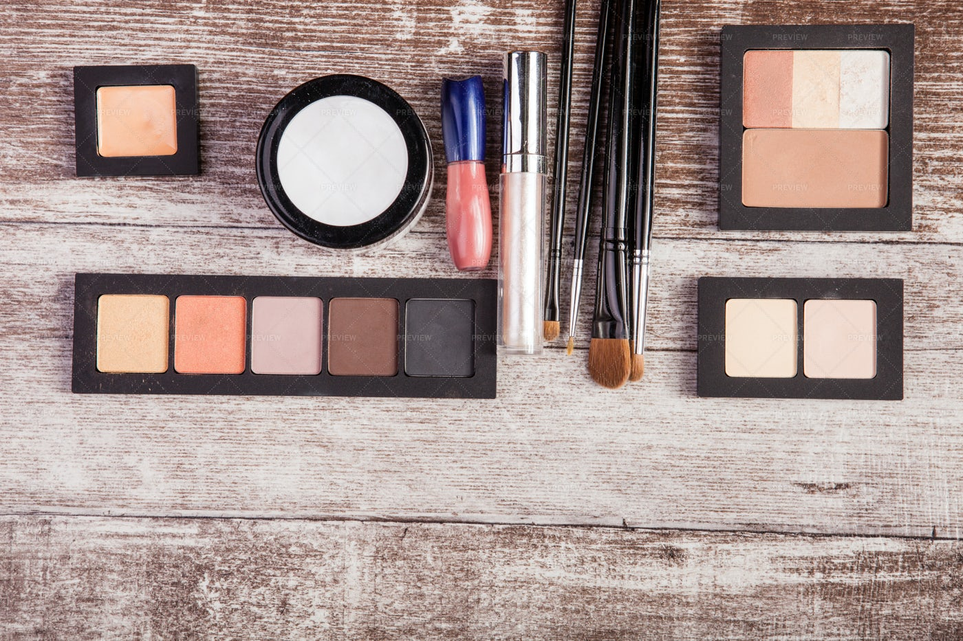 Make Up Products On Wooden Table: Stock Photos