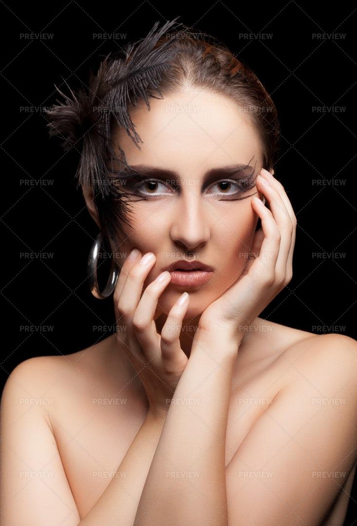 Woman Wearing Gothic Makeup: Stock Photos