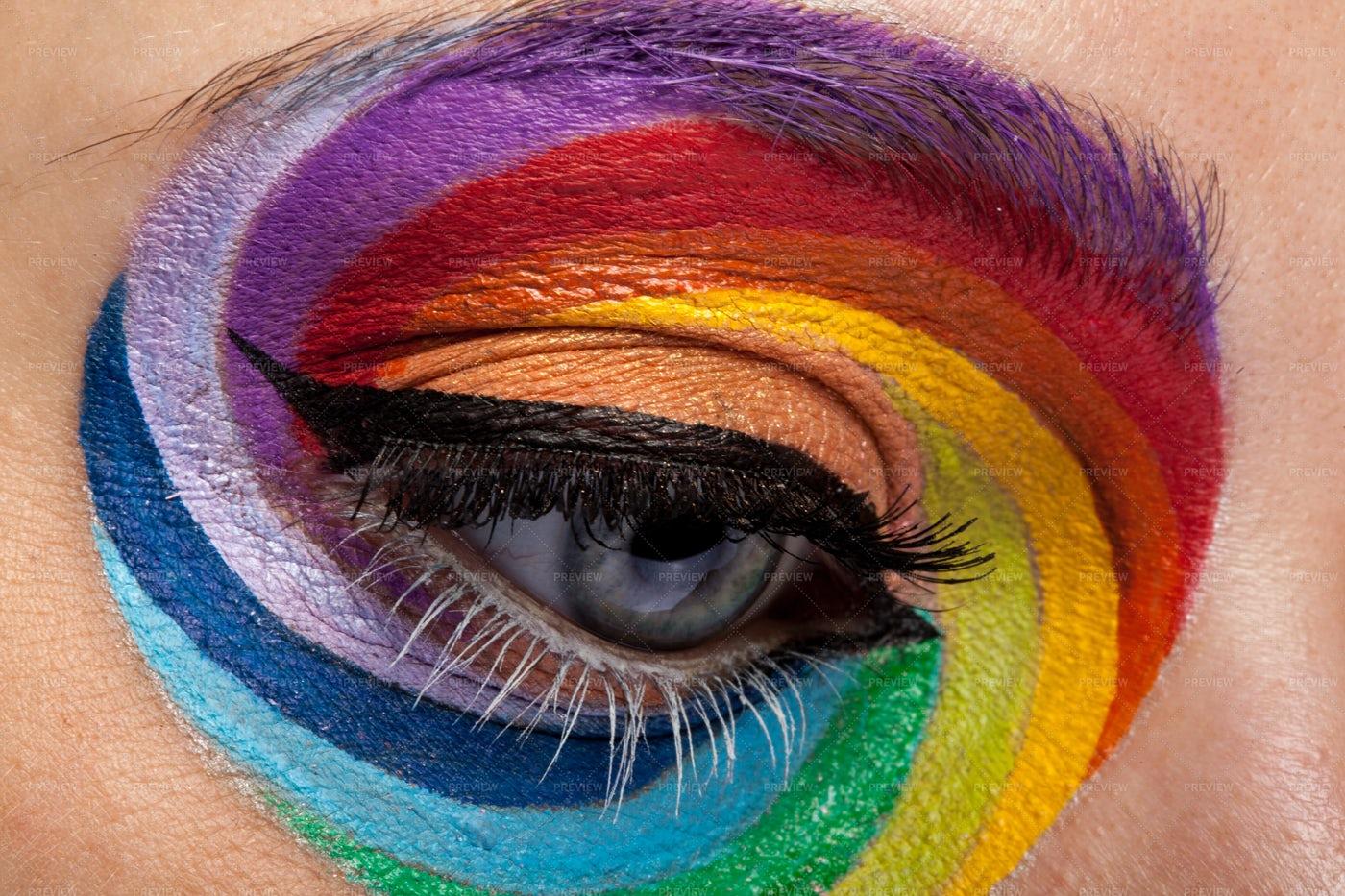Close Up Of Beautiful Eye With Rainbow: Stock Photos