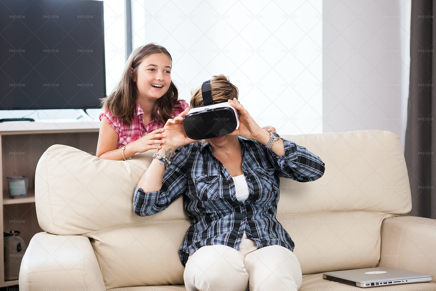 Mother Using VR Headset: Stock Photos