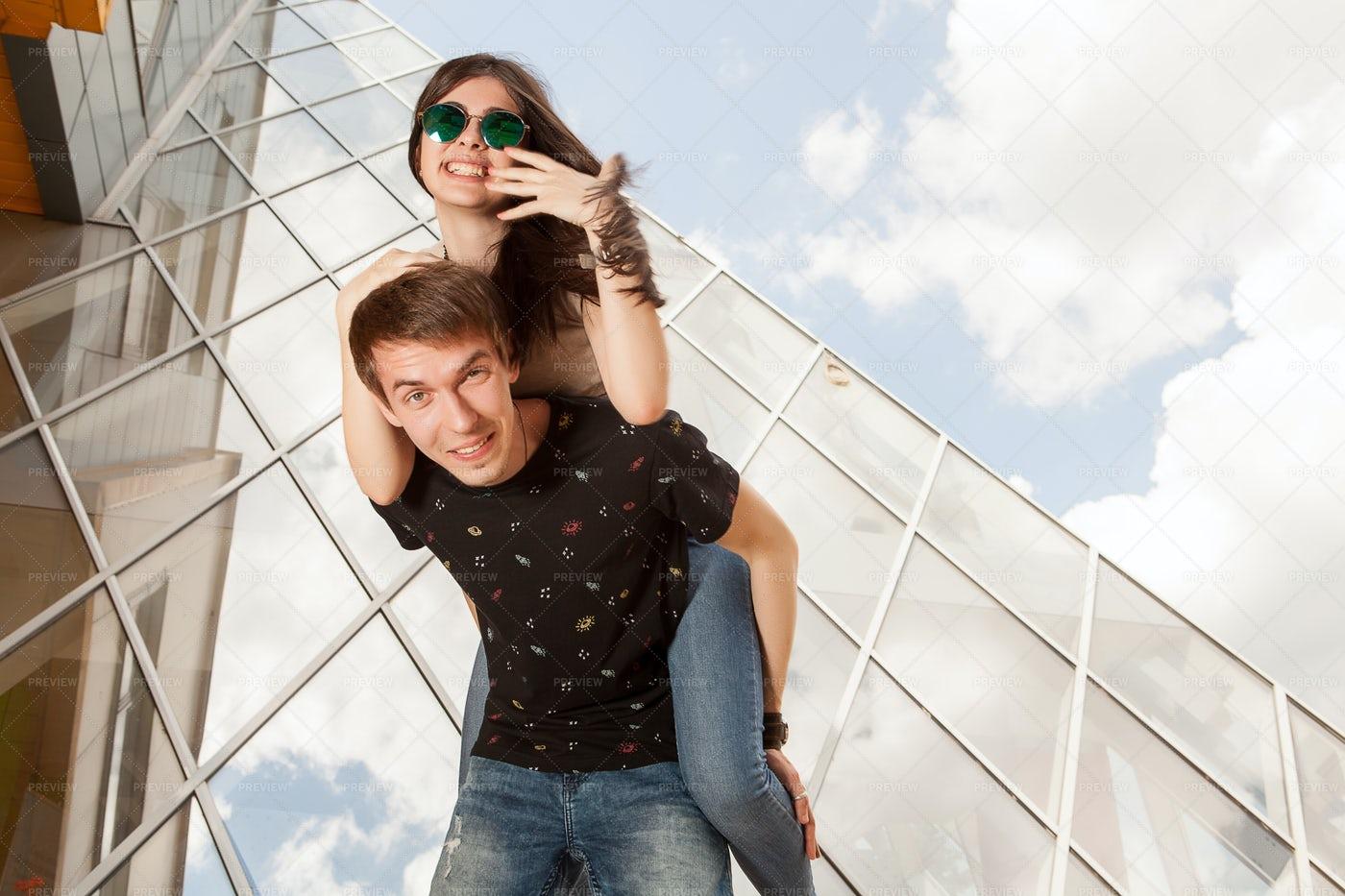 A Young Beautiful Couple Posing: Stock Photos