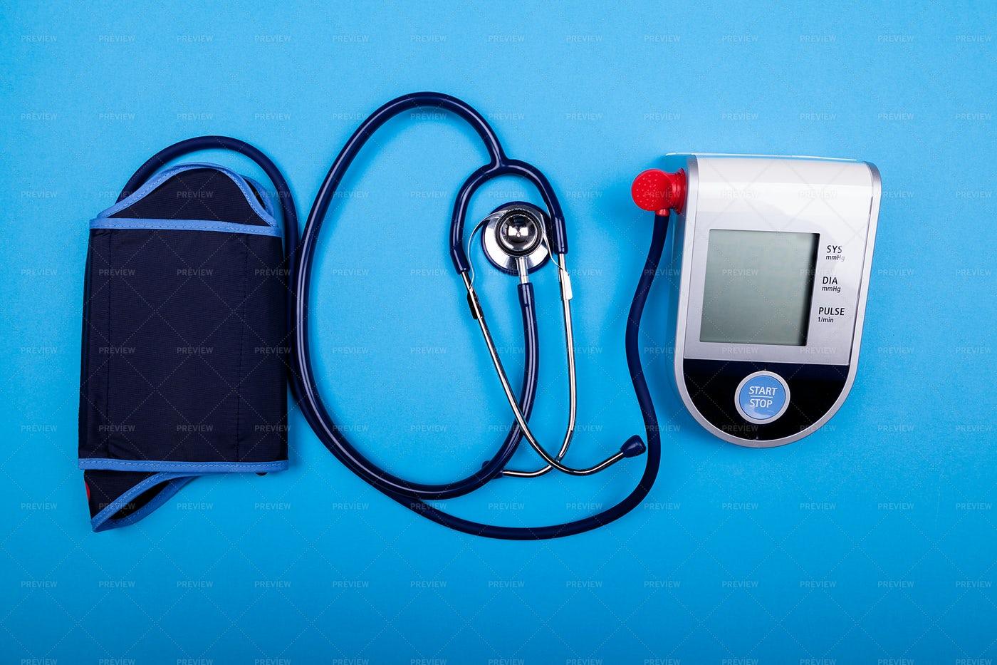 Sphygmomanometer And Stethoscope: Stock Photos