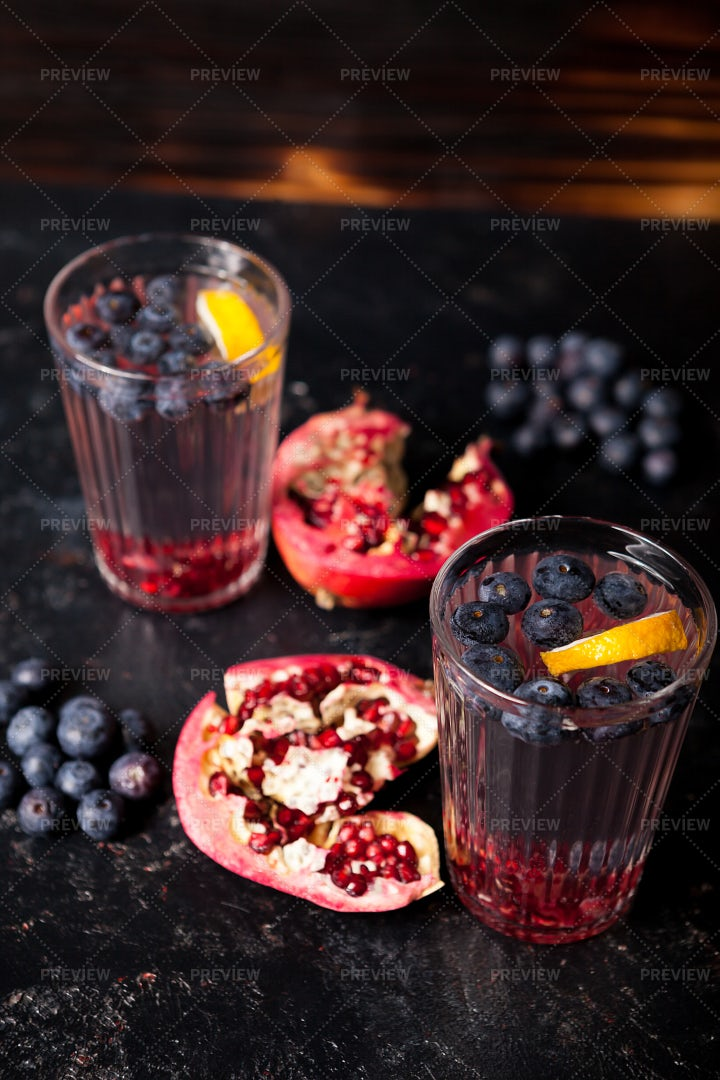 Two Glasses Of Infused Water: Stock Photos